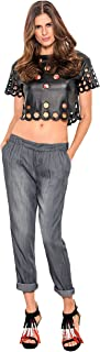 Standards & Practices Modern Womens Active Tencel Light Wash Front Pleated Pants
