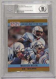 Warren Moon Signed 1990 Pro Set Oilers Football Card 4 BAS Beckett COA Autograph - Beckett Authentication