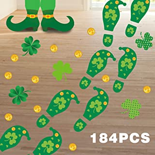 Sponsored Ad - Fancy Land St. Patrick`s Day Decorations Leprechaun Footprint Floor Decals 184 Ct Shamrock Gold Coin Clings...