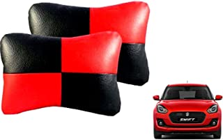 AUTO CAR WINNER Black Red(Set of 2) Car Neck Rest Cushion Maruti Swift 2018 Zdi Plus