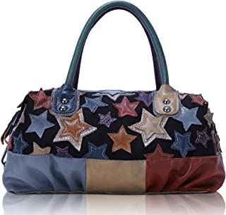 Angel Barcelo Womens Soft Canvas Leather Top-handle Bag Handbags and Purses Casual Shoulder Bags