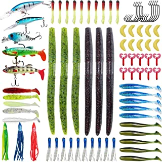 Soft Fishing Lures Kit Set with Tackle Box Including Plastic Worms, Jigs, Topwater Lures, Hook Sinking Swimbaits and More ...