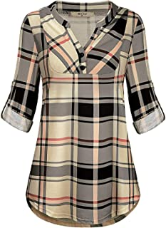 Miusey Womens Mandarin Collar Plaid Roll Sleeve V Neck...