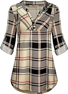 Womens Mandarin Collar Plaid Roll Sleeve V Neck Flowy Loose Tunic Blouse
