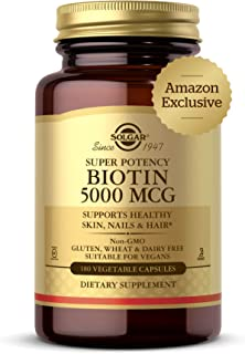 Solgar Biotin 5000 mcg, 180 Veg Caps - Supports Healthy Skin, Nails & Hair - Supports Energy Production & Metabolism - Vit...