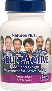 NaturesPlus Adult-Active DMAE and Ginkgo Supplement - 60 Vegetarian Tablets - Precisely Calibrated For Active Adults - Glu...