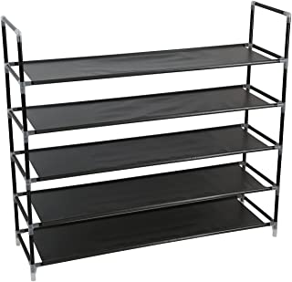 Smart-Home 5 Tiers Shoe Rack 25 Pairs Non-woven Fabric Shoe Tower Storage Organizer Cabinet [Black] …