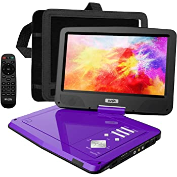 "SUNPIN Portable DVD Player 12.5"" with HD Swivel Screen, Long Lasting Battery, Support USB/SD Card/Sync TV and Multiple Disc Formats, with Car Charger &Power Adaptor & Car Headrest Mount Case, Purple"