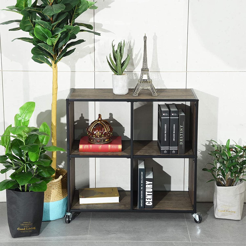 Bookcases Shelves, HOMEMAKE Removable 4 Grids Storage Cabinet Bookcase for Bedroom Living Room Office (2 Tier)
