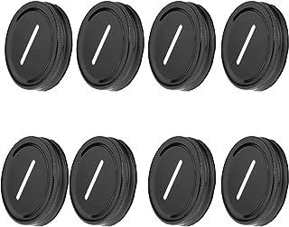 DRHOM 8Pcs Coin Slot Bank Lid Inserts Metal Stainless Steel Mason Jar Canning Jars Lid Change Bill Storage Jars 70mm (Black)