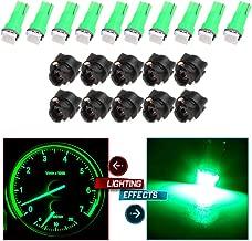 cciyu 10pcs T5 74 85 58 37 27 17 1-5050-SMD LED w/Black Twist Sockets Instrument Panel Dash Light Bulbs (green)