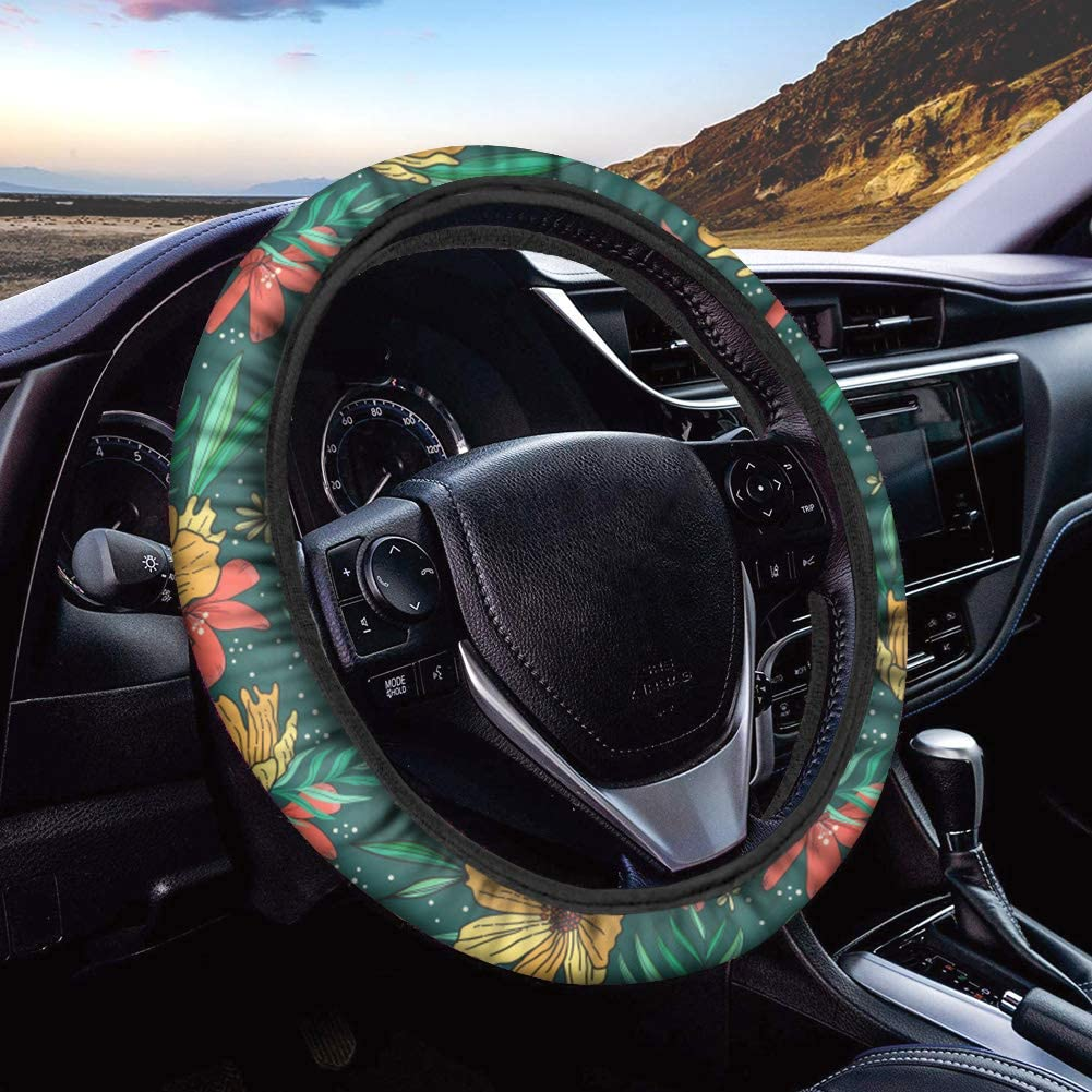 ORGYPET Fashion Wheel Cover for Women Girls Trendy and Fashionable Steering Wheel Cover Car Accessories with 3D Flower Printing Design