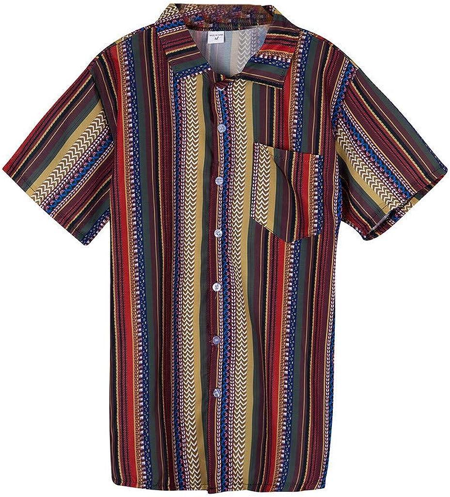 Holzkary Men's Fashion Multicolor Vertical Stripe Button Down Short Sleeve Shirt