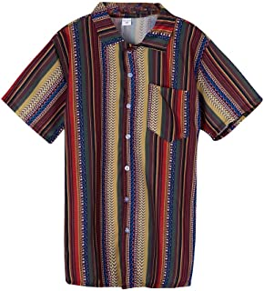 Mens Vintage Shirt Ethnic Printed Stand Collar Colorful Stripe T-Shirt Short Sleeve Loose Henley Tops