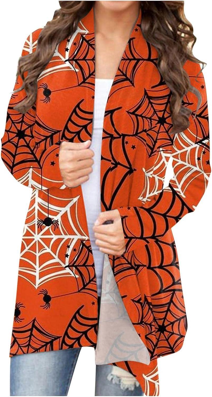 UOCUFY Halloween Cardigan for Women,Funny Pumpkin Print Cardigan Lightweight Coat Open Front Long Sleeve Sweatshirts