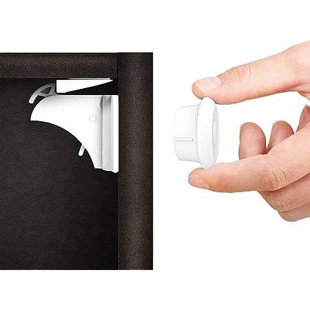 Norjews Baby Sicherheit Magnetisches Schrankschloss(20 Schlösser + 3 Schlüssel)   zum Kindersicherung Schloss für Schränke und Schubladen   Unsichtbare   Klebeband   Ohne Bohren oder Werkzeug