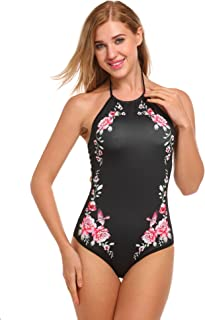e6f6684838 Ekouaer Womens Bathing Suit Halter High Neck Backless One Piece Swimsuit