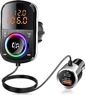 $21 » Sponsored Ad - Bluetooth FM Transmitter for Car, PD18W and QC3.0 Bluetooth 5.0 Car Radio Adapter Dual Fast Charging Port W...