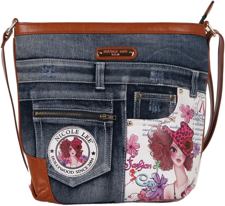 Nicole Lee Wanda Wanda Wanda Denim Print Cross Body Bag, Damen Umhängetasche B00O7FOA5U 5d586b