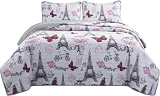 HollyHOME 2 Piece Printed Quilt Coverlet Set Twin Size 68x86 with 1 Sham Lightweight Design for Spring and Summer Microfiber Bedspread Sets, Pink Butterfly and Grey Eiffel Tower Pattern