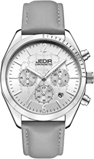 JEDIR Men Watch Chronograph Quartz Watch Analog Dial with Calendar Round Metal Case Leather Strap