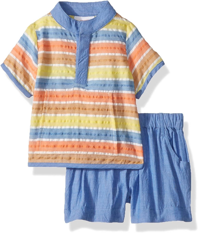 Masala Baby baby-boys Ollie 2pc Set Bold Stripe Multi