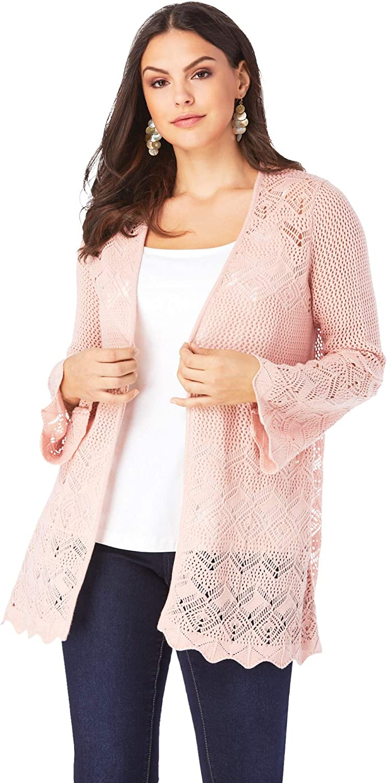 Roamans Women's Plus Size Bell-Sleeve Pointelle Cardigan Sweater