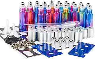 SXUDA Glass Roller Bottles UV Protection 24 Pack 10 ml Gradient Color Essential Oil Roller Bottles with Stainless Steel Roller Balls (2 Dropper, 6 Extra Roller Balls, 2 Bottle Opener, 30 labels)