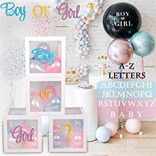 Gender Reveal Party Supplies | Baby Shower Boxes Decorations For Girl Boy, A - Z Letter Boxes Birthday Decorations, Transparent DIY Name Combination Letter Blocks Birthday Baby Shower Boxes