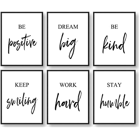Inspirational Wall Art, Motivational Wall Art, Office Wall Decor, Wall Art for Living room and Bedroom, Office Decor (Set of 6, 8X10in, Unframed)