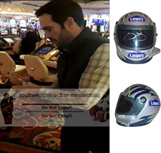 Nascar All-Time Great Jimmie Johnson Autographed Hand Signed Lowes 1:3 Scale Riddell Nascar Racing Mini Helmet with Proof Photo of Signing, Sprint Cup Series, COA
