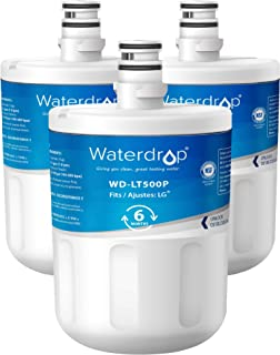 Waterdrop Refrigerator Water Filter, Compatible with LG LT500P, 5231JA2002A, ADQ72910901, ADQ72910907, Kenmore GEN11042FR-08, 9890, 469890, 46-9890, Standard Series, Pack of 3