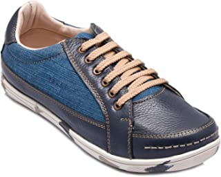 tZaro Navy Blue Genuine Leather Lifestyle Casual Shoes - ROCAN410BLZ
