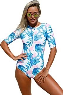EVALESS Womens Zip Front Printed Short Sleeve One Piece Swimsuit