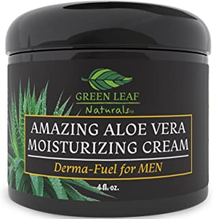 Amazing Aloe Vera Moisturizing Cream for Men - All Purpose Facial Skincare for All Skin Types - Natural and Organic Ingredients - Your Anti-Aging Face Moisturizer from Green Leaf Naturals (4 oz)