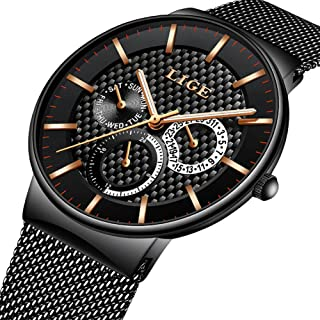 Watch for Men,LIGE Waterproof Stainless Steel Sport Analog Quartz Watch Gents Fashion Dress Wrist Watch