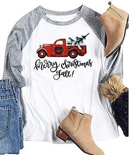 BANGELY Women Merry Christmas Y'all Letter Baseball T-Shirt Truck Tree Print 3/4 Sleeve Raglan Tops Tees