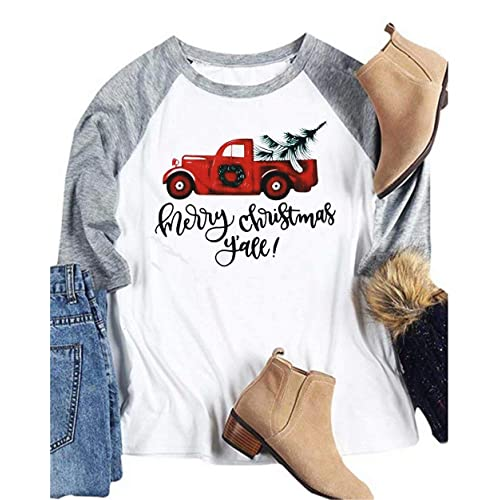 aa86449b027ac Women Merry Christmas Y all Letter Baseball T-Shirt Truck Tree Print 3