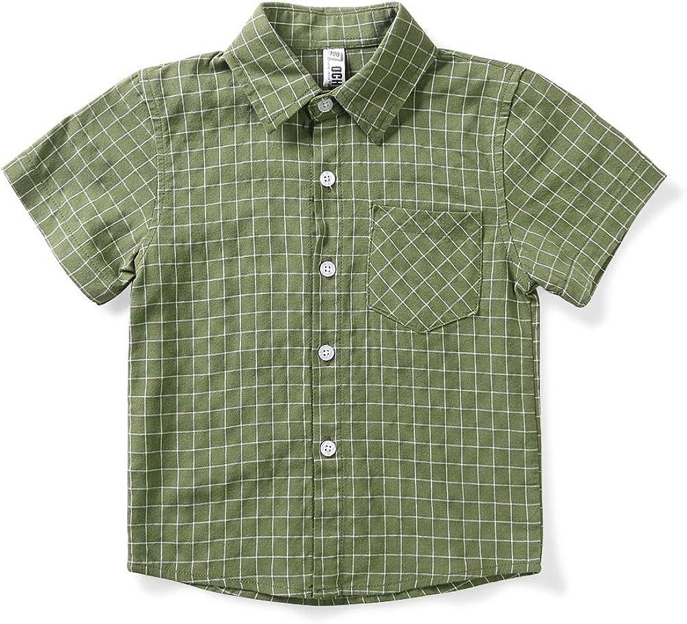OCHENTA Boy's Plaid Short Sleeve Button Down Sports Casual Shirt Green Tag 90CM - 18M