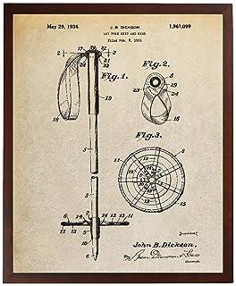 Turnip Designs Ski Pole Patent Print Blueprint Art Snow Skiing Winter Sports Decor Mountain House Wall Art Skier Gifts TDP...