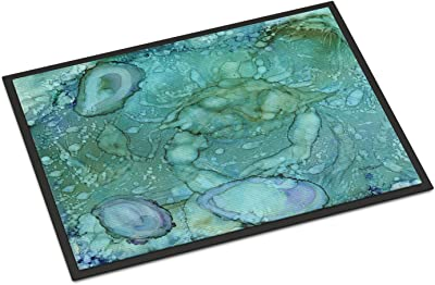 "Caroline's Treasures Abstract Crabs and Oysters Indoor or Outdoor Mat 24x36 8963JMAT, 8963JMAT, Multicolor, 24"" H x 36"" W"