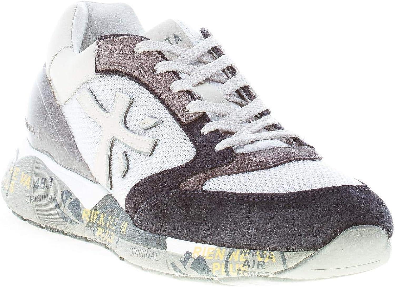 PREMIATA Uomo Sneaker Zac-Zac in Tessuto e camoscio Grigio più Nero Grigio