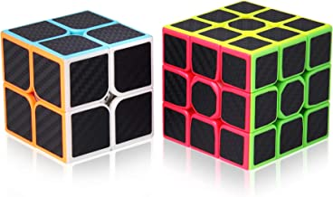 Speed Cube Set, Roxenda Professional 2x2x2 3x3x3 Cube Bundle - Easy Turning & Smooth Play - Solid Durable & Carbon Fiber - Turns Quicker Than Original, Black
