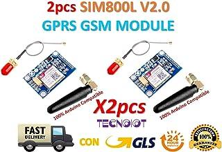 TECNOIOT 2pcs SIM800L V2.0 5V Wireless gsm GPRS Module Quad-Band with Antenna Cable Cap