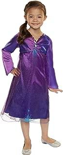 Frozen 2 Elsa Purple Dress, Satin Nightgown with Diamond Gem, Fits Sizes 4-6x [Amazon Exclusive]