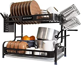 Kitchen Dish Rack, Boosiny 2 Tier Stainless Steel Large Dish Drying Rack with Drainboard Set, Utensil Holder Dish Drainer,...