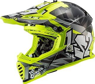 LS2 404373412M Motocross-Helm MX437 Fast Evo Crusher, Unisex, schwarz matt/neongelb, M
