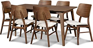 New Classic Furniture 40-1651-D6CT Mid-Century Modern Oscar 7-Piece Dining Table Set, 60-Inch, Walnut