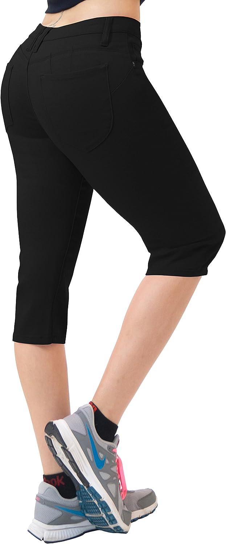Hybrid & Co. Women's 17  Butt Lift Super Comfy Stretch Denim Capri Jeans