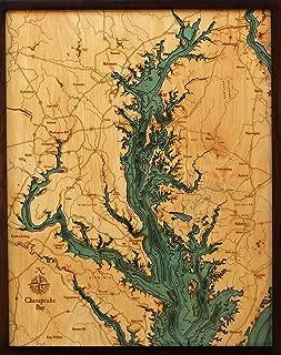Chesapeake Bay 3-D Nautical Wood Chart, 24.5